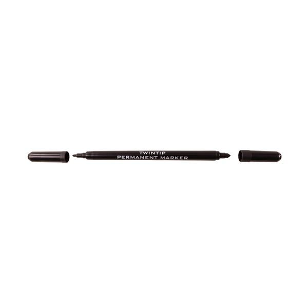 Twin-tip black permanent marker - 1 & 3mm