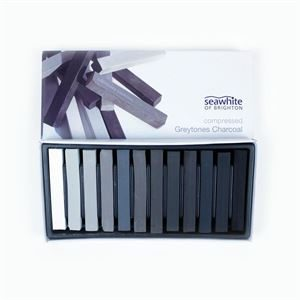 Compressed Charcoal 12pk - Black to White tones